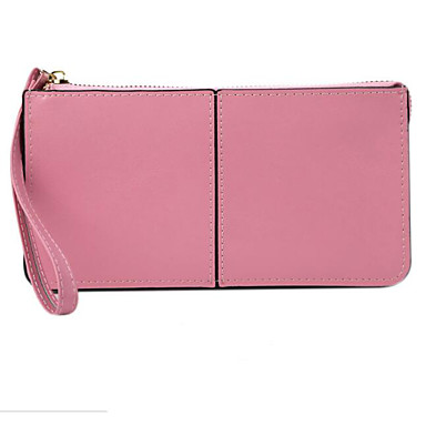 Women Checkbook Wallet Cowhide All Seasons Casual Rectangle Magnetic Yellow Green Blushing Pink