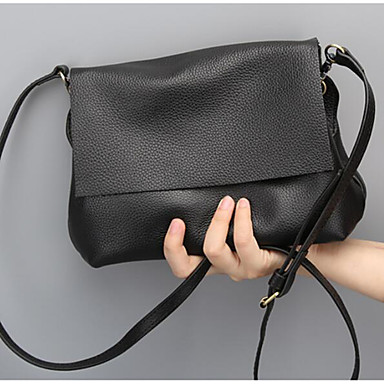 Women's Bags Cowhide Crossbody Bag for Casual / Outdoor Black