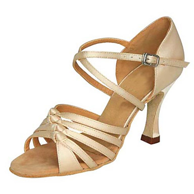 Women's Latin Silk Sandal Performance Buckle Stiletto Heel Beige 3