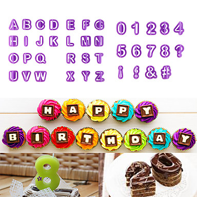 40pcs/lot Alphabet Capital Letters Number Symbols Shape Alphanumeric Symbols Biscuit Mold Cake Cookies Font Seal Plastic Mold