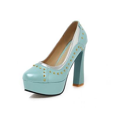 Mulheres Sapatos Courino / Couro Ecológico Primavera / Verão Conforto / Inovador Saltos Caminhada Salto Robusto Ponta Redonda Tachas Roxo