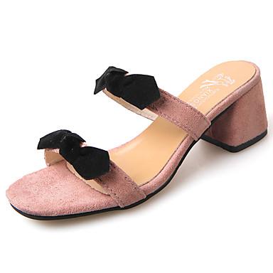 Mulheres Sapatos Borracha Verão Conforto Sandálias Salto Baixo Laço para Ao ar livre Preto Amarelo Rosa claro