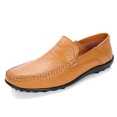 Miesten kengät Nahka Kevät Syksy Comfort Lenkkitossut Split Joint varten Kausaliteetti Musta Vaalean ruskea Tumman ruskea