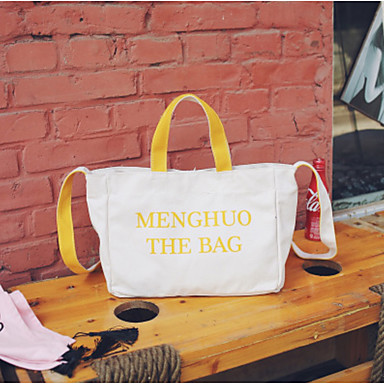 Women Bags Canvas Shoulder Bag for Casual All Seasons Blue Black Blushing Pink Yellow