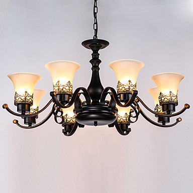 8-Light Chandelier Uplight Painted Finishes Metal Glass Mini Style 110-120V / 220-240V Bulb Not Included / E26 / E27