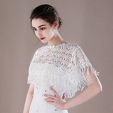 Lace Wedding Party / Evening Women's Wrap With Tassels Capelets