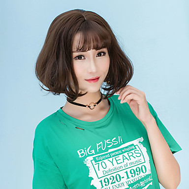 Synthetic Hair Wigs Straight Bob Haircut With Bangs Halloween Wig Lolita Wig Natural Wigs Short Flaxen Dark Brown Chestnut Brown Ash