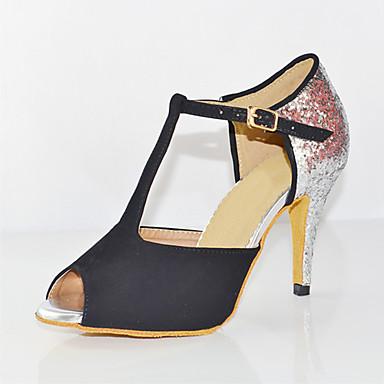 messieurs et mesdames les femmes amérique en amérique femmes latine en satin sandale / talon arrondi les chaussures de danse épissage chaussures Marron  - talon personnalisables moderne et élégant à la mode 86738c