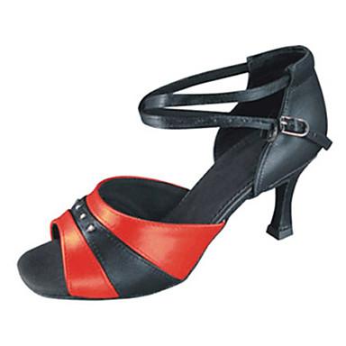 Mulheres Sapatos de Dança Latina Couro Sintético Sandália Cruzado Salto Agulha Personalizável Sapatos de Dança Preto / Vermelho