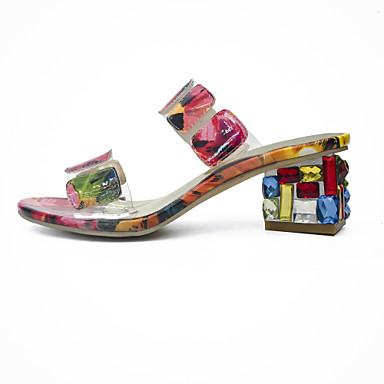 Naiset Kengät Kimalle Kesä Slingback Sandaalit Kävely Läpikuultava Heel Avokärkiset korkokengät Kristalleilla Käyttötarkoitus