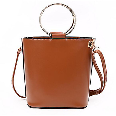 Women Tote PU All Seasons Casual Outdoor Round S-hook Clasp Black Brown