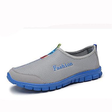 Men's Shoes Tulle Summer Comfort Loafers & Slip-Ons Walking Shoes for Casual Gray Light Blue