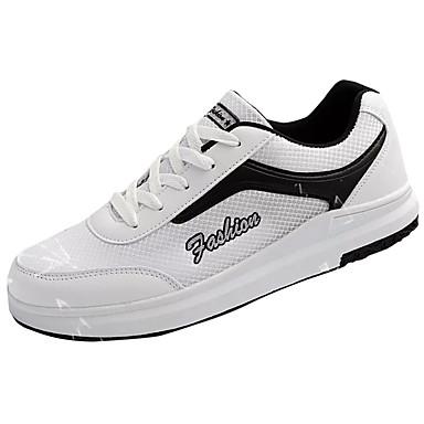 Homens sapatos Couro Ecológico Primavera Outono Conforto Tênis para Ao ar livre Branco Preto Rosa claro Branco/Preto