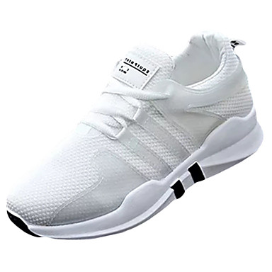Women's Shoes PU(Polyurethane) Spring / Fall Comfort Athletic Shoes Flat Heel White / Black