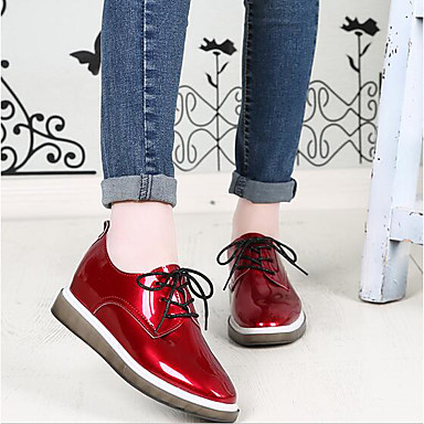 Women's Sneaker Comfort Spring Fall Patent Leather Casual Black Red Champagne Flat