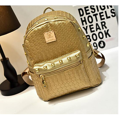 Women's Bags PU Backpack for Casual All Seasons Gold Silver Blushing Pink