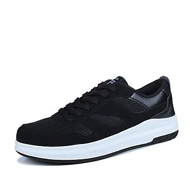 Homens sapatos Couro Ecológico Primavera Outono Solados com Luzes Conforto Tênis Cadarço para Atlético Preto Branco/Preto Preto/Vermelho