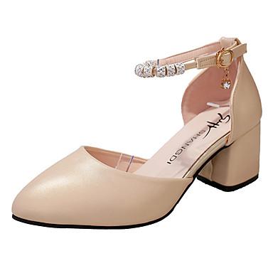 Mulheres Sapatos Borracha Verão Conforto Rasos Caminhada Salto de bloco Ponta Redonda Presilha Dourado / Branco