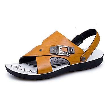 Homens sapatos Couro Ecológico Verão Conforto Sandálias para Ao ar livre Castanho Claro Castanho Escuro
