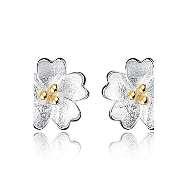 Women's Stud Earrings - Flower Silver For Graduation Business Daily