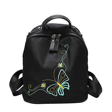 Women Bags Winter All Seasons Nylon Backpack for Casual Black