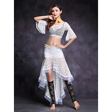 Belly Dance Outfits Women's Performance Lace Lace Half Sleeve Natural Skirts / Top
