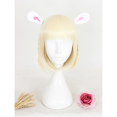 Syntetisk hår Parykker Rett Lokkløs Cosplay-parykk Kort Blond