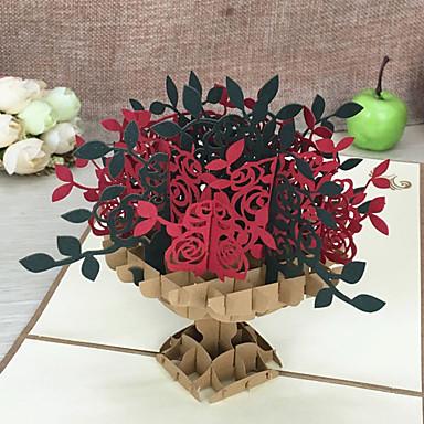 Dobrado no Topo Convites de casamento Cartões de Obrigado / Conjuntos de Convites Estilo Artístico / Estilo Floral Papel com Relevo Flor