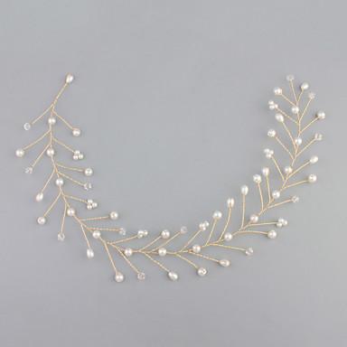 Pedraria & Cristal / Tule / Imitação de Pérola Headbands / Peça para Cabeça com Cristais / Penas 1 Casamento / Ocasião Especial / Housewarming Capacete