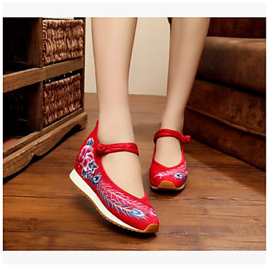 Women's Shoes Fabric Flats For Black Red Blue