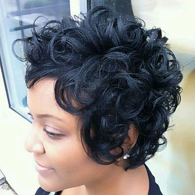 Human Hair Capless Wigs Human Hair Curly / Classic Machine Made Wig Daily