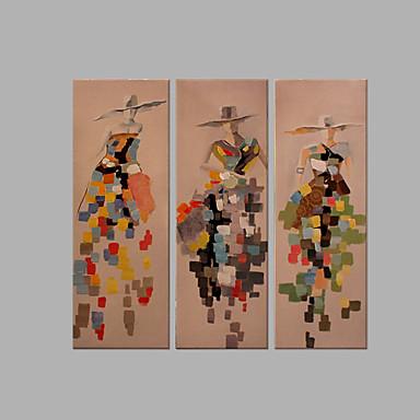 Pintura a Óleo Pintados à mão - Arte Pop Abstracto Tela de pintura 3 Painéis