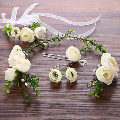 Pedraria & Cristal Tule Cestaria Flores Peça para Cabeça with Cristais Penas 1 Casamento Aniversário Parabéns Festa / Eventos Festa /