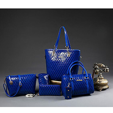 Women's Bags PU(Polyurethane) Shoulder Bag 5 Pieces Purse Set Blue / Black