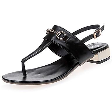 Mulheres Sapatos Couro Ecológico Verão Conforto Solados com Luzes Sandálias Sem Salto Dedo Aberto Presilha para Casual Social Branco Preto