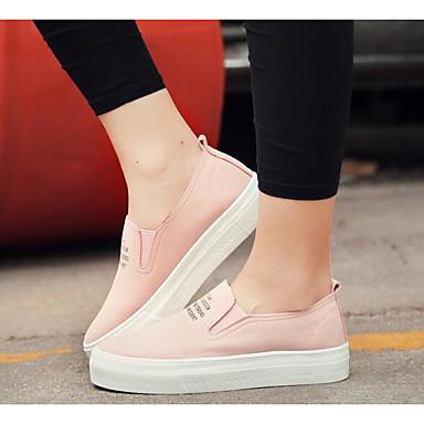 Naiset Kengät Canvas Kangas Kevät Comfort Mokkasiinit Käyttötarkoitus Kausaliteetti Musta Harmaa Pinkki