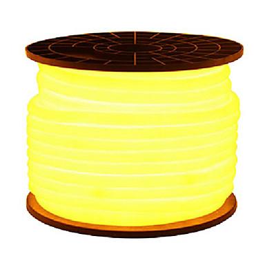 HKV® Red Yellow Green LED Flexible Strip Light 2835SMD LED Neon Flex Tube 600led IP67 Waterproof Rope String Lamp EU Power Plug