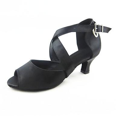 Mulheres Sapatos de Dança Latina Seda Sandália Presilha Salto Cubano Personalizável Sapatos de Dança Preto / Espetáculo / Couro