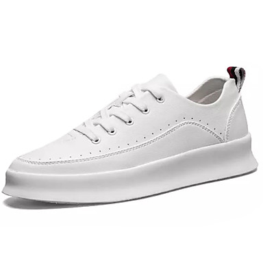 Homens sapatos Couro Ecológico Primavera Outono Conforto Tênis Cadarço para Casual Branco Preto Vermelho