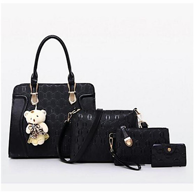 Mulheres Bolsas Couro Ecológico Conjuntos de saco Conjunto de bolsa de 4 pcs para Casual Ao ar livre Todas as Estações Azul Preto Vermelho