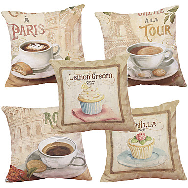Set of 5  European-style Coffee Pattern  Decorative Chenille Square Throw Pillow Cases Sofa Cushion Covers (18*18inch)
