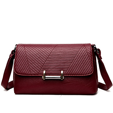 Women's Bags PU Crossbody Bag for Casual Black / Purple / Wine