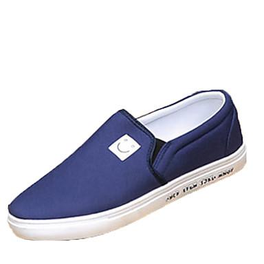 Homens sapatos Couro Ecológico Primavera Outono Conforto Tênis para Ao ar livre Preto Cinzento Azul