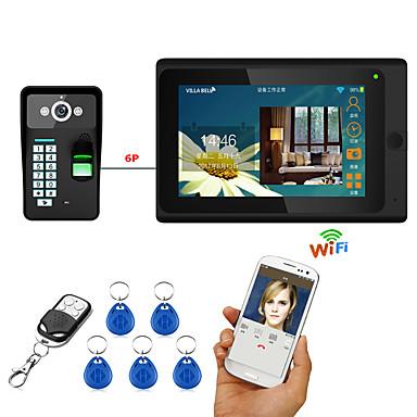 7inch vezetékes / vezeték nélküli wifi ujjlenyomat RFID jelszavát video kaputelefon csengő kaputelefon TÁMOGATÁSA távoli app kinyitó