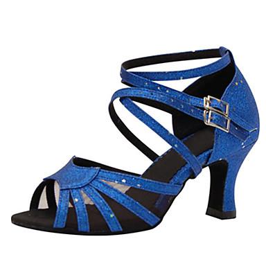 Women's Latin Shoes Silk Sandal Buckle Stiletto Heel Customizable Dance Shoes Blue / Performance / Leather