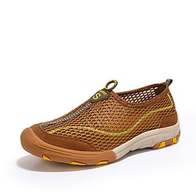 Homens Camurça / Tule Primavera / Outono Conforto Mocassins e Slip-Ons Tênis Anfíbio Cinzento / Amarelo / Castanho Escuro