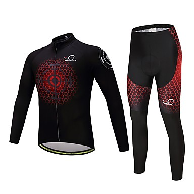 Long Sleeves Cycling Jersey with Tights Bike Clothing Suits, Quick Dry, Spring, Polyester Spandex Lycra Silicon