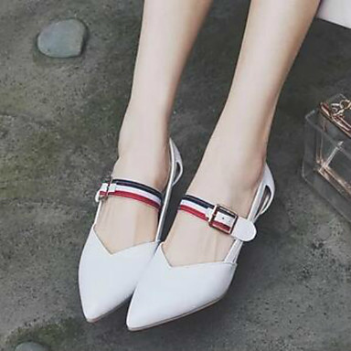Women's Heels Comfort Spring PU Casual White Black Red Under 1in