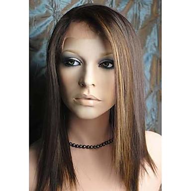 naturlige parykker syntetisk Blonde Forside Parykker Medium Medium Brun / Blond Hår