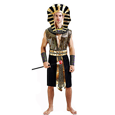 Egyptian Costume Pharaoh Cosplay Costume Party Costume Masquerade Men's Glamorous & Dramatic Ancient Egypt Festival / Holiday Halloween Costumes Outfits Black Stripe Sequin